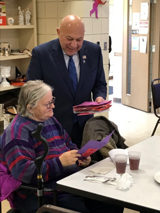 This Valentine's Day, Assemblyman Angelo Morinello (R,C,I,Ref-Niagara Falls) visited the Grand Island Golden Age Center and delivered Valentine's Day cards, created by local elementary school