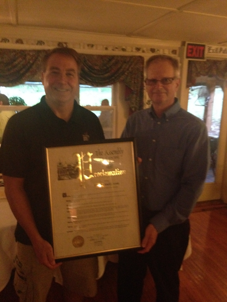 Assemblyman David DiPietro (R,C-East Aurora) (left) recently honored outgoing East Aurora Police Chief Ronald Krowka for his service to our community by awarding him an official Assembly Proclamation.