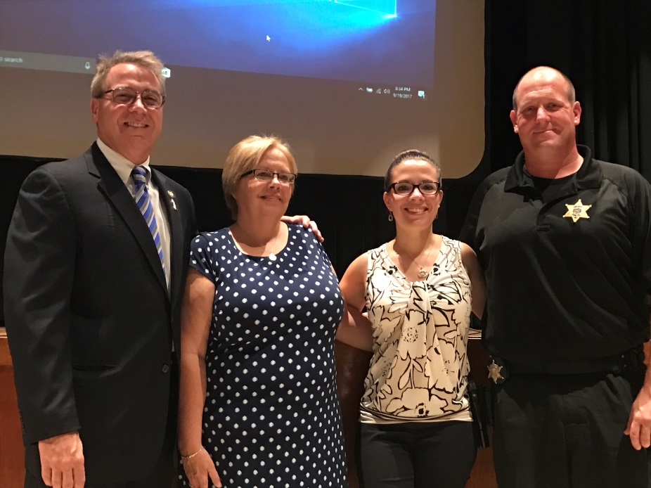 Pictured from left to right are Assemblyman David DiPietro (R,C-East Aurora), Cindy Anton, Jessica Hutchens from Kids' Escaping Drugs and Deputy Aaron Naegely stand united at an Opioid Forum at the Iroquois Middle School in Elma, NY on 9/19/17.<br />