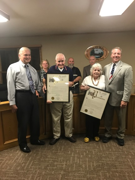 Pictured above: Rickey Vendetti, Supervisor, Edmund 'Bud' Bogucki, an honoree, Dee Zeigel, an honoree, Assemblyman David DiPietro (R,C-East Aurora), and the Wales Town Board<br />