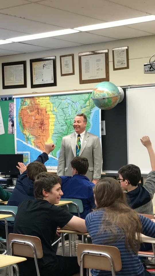 Assemblyman David DiPietro (R,C,I-East Aurora) participating in a debate with Mr. Jason Steinagle's seventh-grade class at Hamburg Middle School on Tuesday, December 19, 2017.<br />