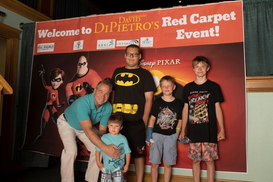 Assemblyman David DiPietro (R,C,I-East Aurora) with attendees at his Red Carpet Event showing Incredibles 2 on Saturday June 30.