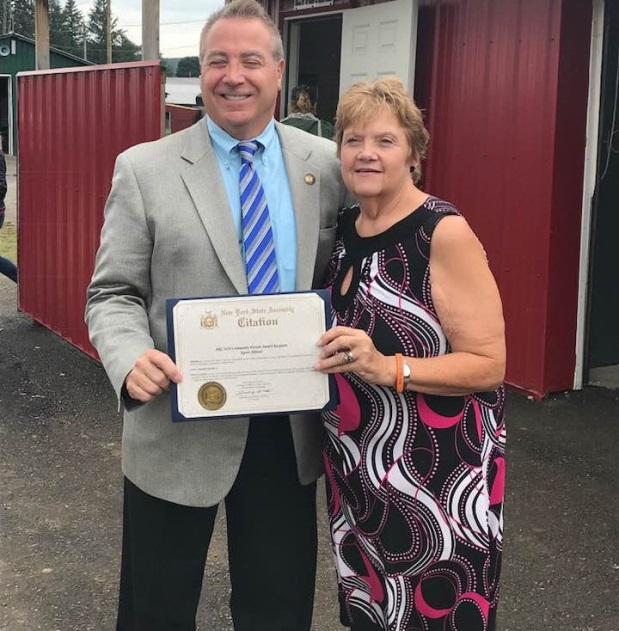 Pictured: Assemblyman David DiPietro (R,C,I-East Aurora) and Karen Almeter on Tuesday, August 14.