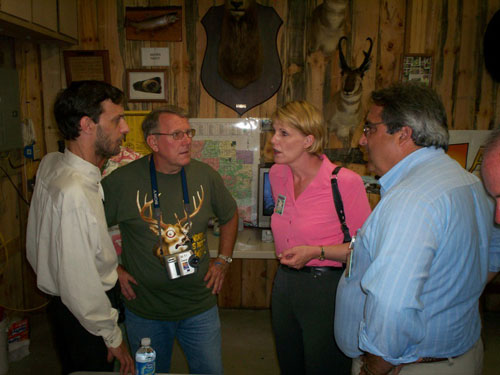 Assemblyman Joe Giglio talks with Senator Cathy Young and area sportsmen.