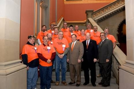 Assemblyman Joseph M. Giglio (R,C,I-Gowanda) with Assembly colleagues and highway superintendents from Cattaraugus and Allegany counties