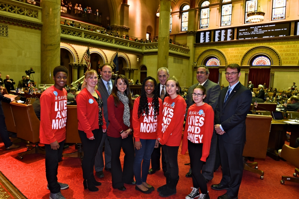 Lee Dennery, Sunnie Smith, Assemblyman Phil Palmesano, Sarah Robbins, Jahleah Dennery, Krissi Elliot,Cheyenne Elliot, Assemblyman Joe Giglio and Assemblyman Chris Friend.<br />