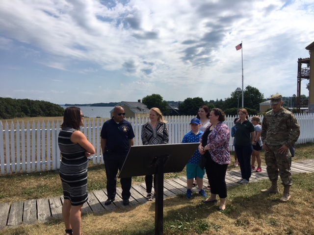 Pictured with Speaker Heastie in the second photo at Sackets Harbor Battlefield State Historic Site (from left to right): Sackets Harbor Schools Superintendent Jennifer Gaffney, Assemblymember Addie Jenne, Sackets Harbor Mayor Molly Reilly and Captain Sean Marquis.