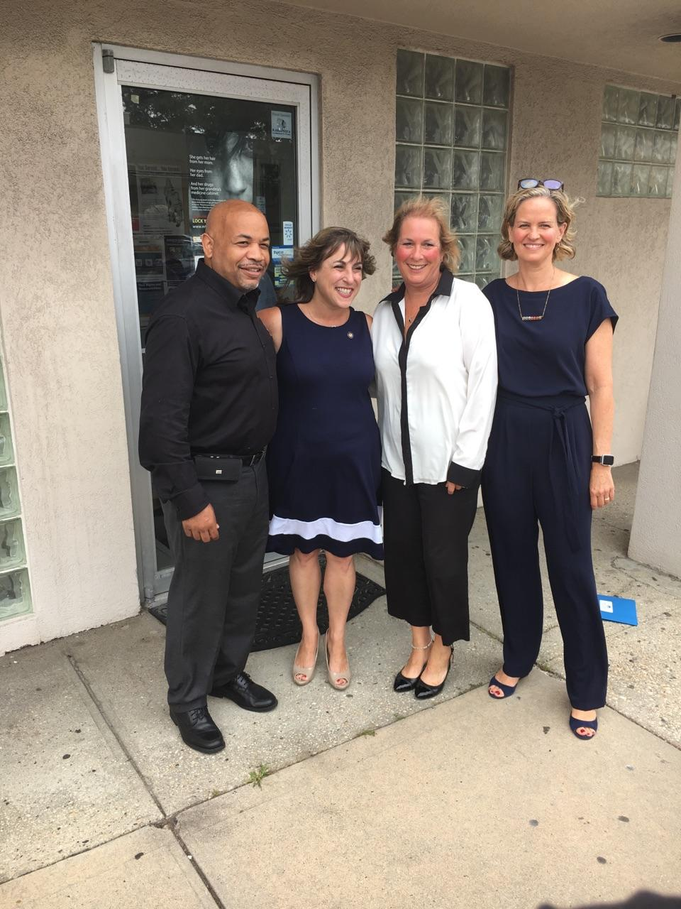 Pictured with Speaker Heastie in the first photo at YES Community Counseling Center (from left to right): Assemblymember Christine Pellegrino, YES Community Counseling Center Executive Director Jamie Bogenschultz and Nassau County Executive Laura Curran.