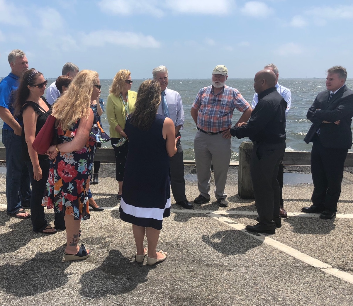 Pictured with Speaker Heastie in the second photo at the Babylon Village Main Docks (from left to right): marine scientists and members of local non-profits, Assemblymember Christine Pellegrino, Suffolk County Executive Steve Bellone and Dr. Malcolm Bowma