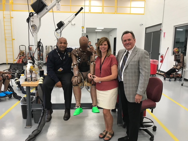 Pictured in the first photo with Speaker Heastie at Calspan Corporation crash lab (from left to right): Assemblymember Monica Wallace and Calspan Corporation Director Jerry Goupil.