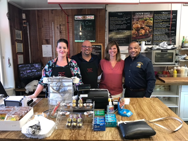Pictured in the second photo with Speaker Heastie at the Depew Deli (from left to right): Depew Deli owners May and Willy Suleiman, and Assemblymember Monica Wallace.