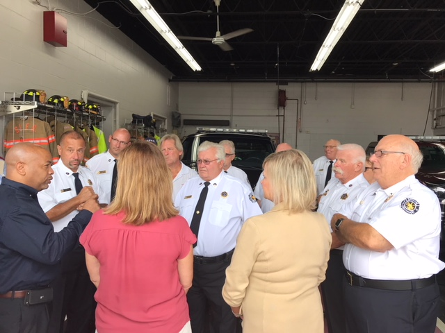 Pictured in the third photo with Speaker Heastie at the South Line Fire District (from left to right): Assemblymember Monica Wallace, Cheektowaga Town Supervisor Diane Benczkowski and members of the South Line Fire District.