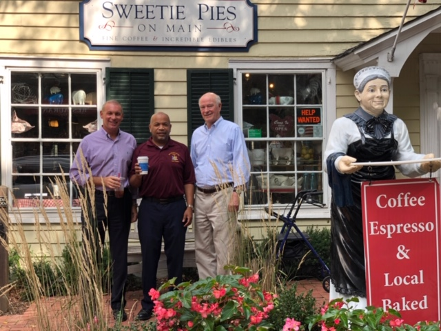 Pictured with Speaker Heastie in the first photo at Sweetie Pies on Main is (from left to right): Assemblymember Steve Stern and Sweetie Pies on Main owner and Cold Spring Harbor Main Street Association President Tom Hogan.