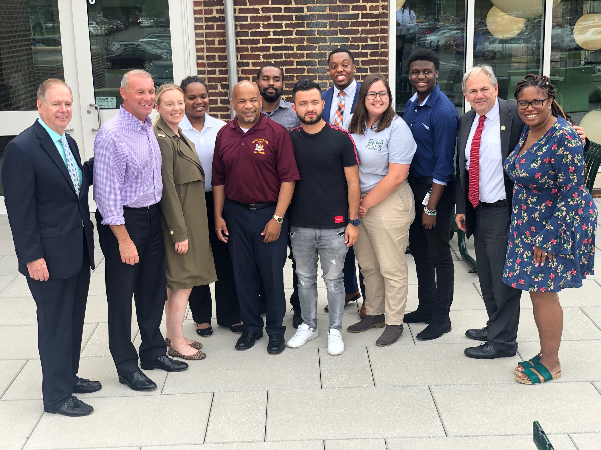 Pictured with Speaker Heastie in the third photo at Farmingdale State College is (from left to right): Farmingdale State College Vice President for Institutional Advancement Patrick Calabria, Assemblymember Steve Stern, members of the Student Senate, Farm