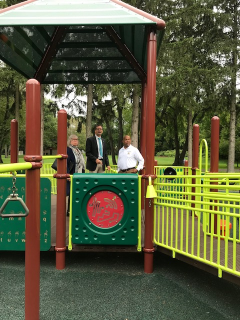 Pictured in the first photo at Suggett Park with Speaker Heastie is (from left to right): Assemblymember Barbara Lifton and Cortland Mayor Brian Tobin.