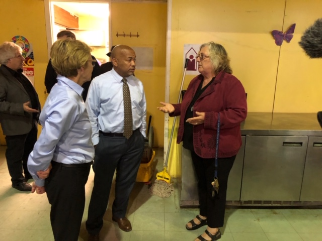 Pictured in the second photo with Speaker Heastie at the Sullivan County Federation for the Homeless (left to right): Assemblymember Aileen Gunther and Executive Director Kathy Kreiter.