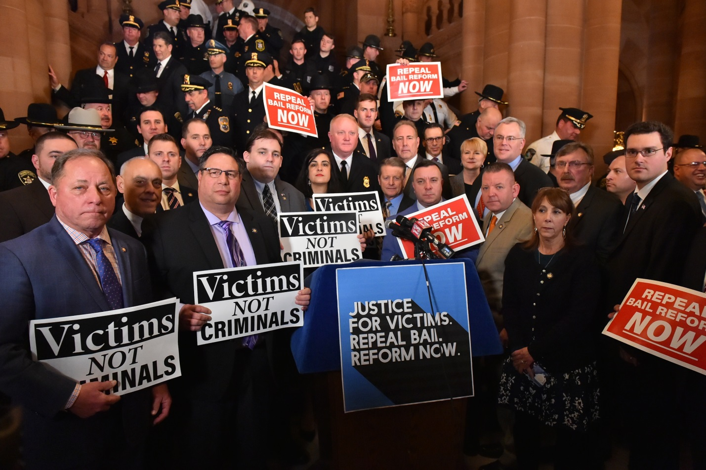 Assemblyman Brian Manktelow (R,C,I,Ref-Lyons) attended a rally to repeal bail reform at the State Capitol on Tuesday, February 4.