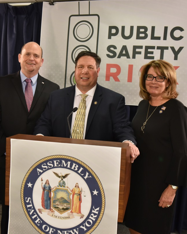 Assemblyman Brian Manktelow (R,C,I,Ref-Lyons), Congressman Tom Reed, and Sen. Pamela Helming at the press conference on Monday, February 24 regarding the Green Light Law.