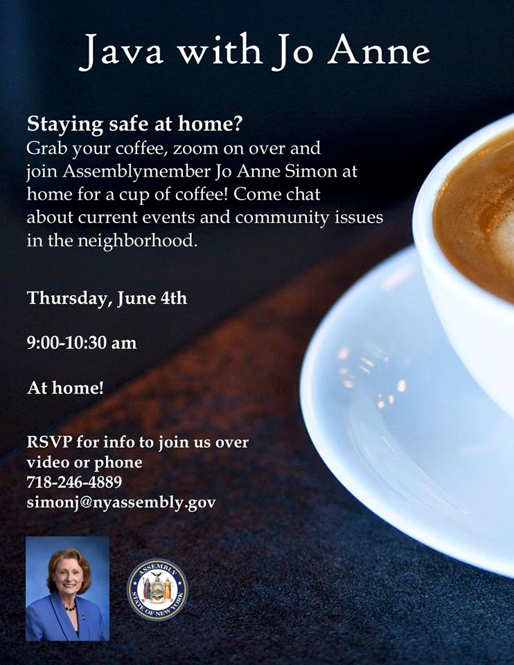 Assemblymember Simon Invites You to Discuss Community Issues: Java with Jo Anne at Home, 6/4/2020