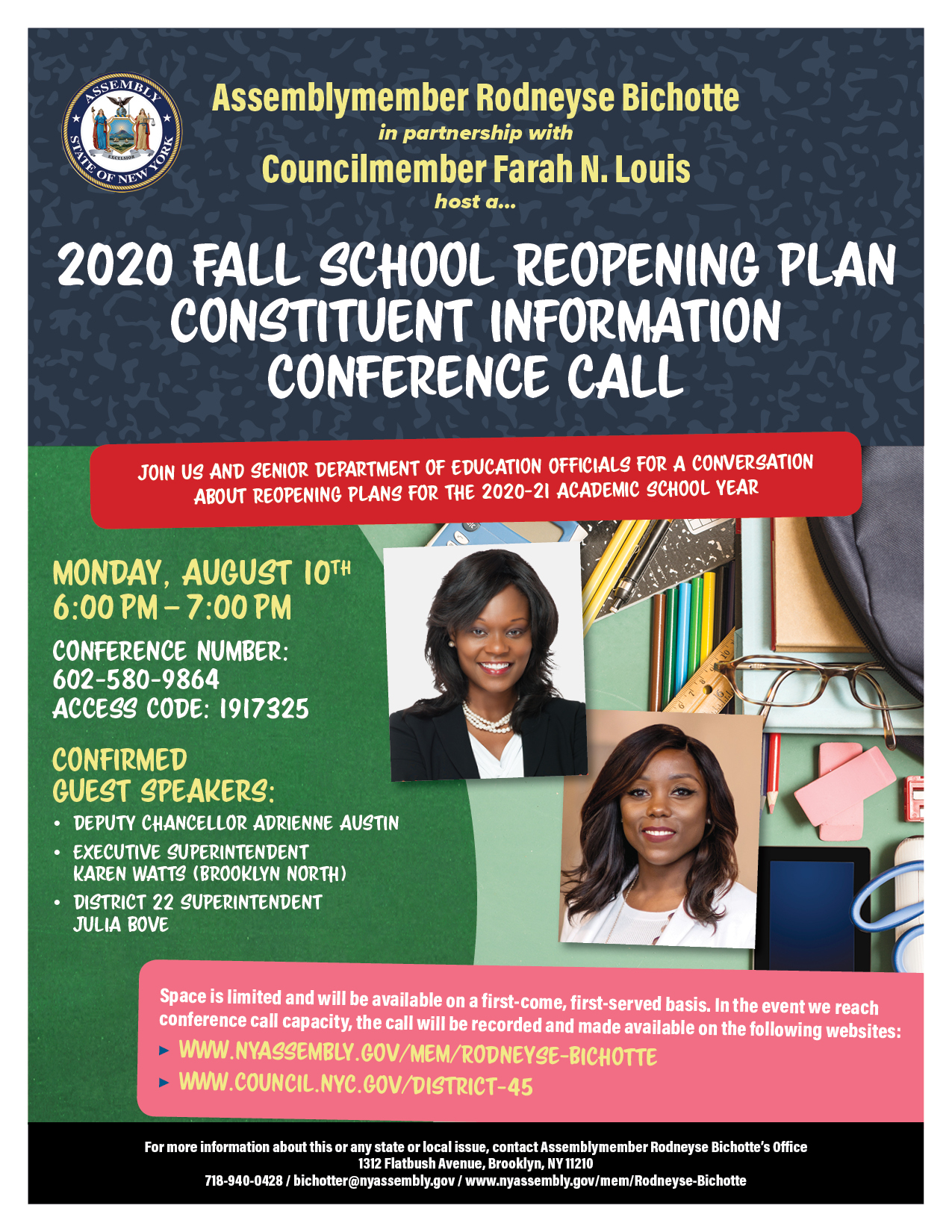 2020 Fall School Reopening Plan Constituent Information Conference Call